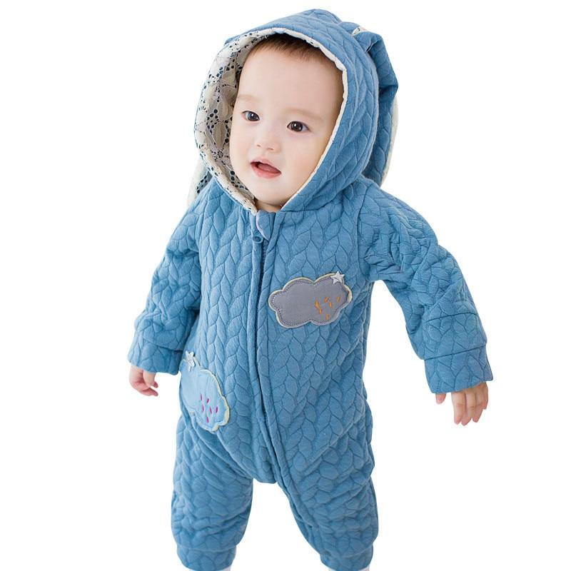 Newborn Baby Winter Jumpsuit Cartoon Rabbit Ear Infant