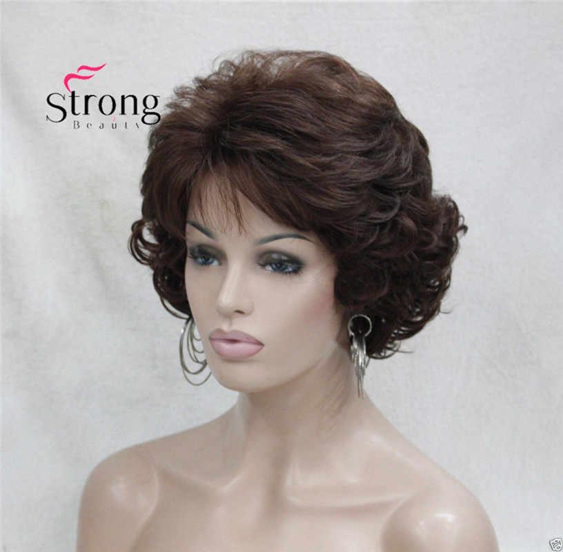 Короткий курчавый Темный Auburn синтетические волосы Полный парик женские толстые парики для повседневной носки