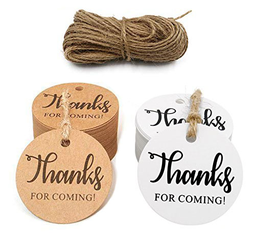 "100pcs ""thanks for coming"" paper tags with hole for wedding party decoration gift tags Packaging Hang round Tags stationery"