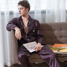 Искусственный шелк пижамы мужские 2020 осень новинка шелковистая лед шелк одежда для сна мужская с длинным рукавом темный кофе пижама комплекты X9003