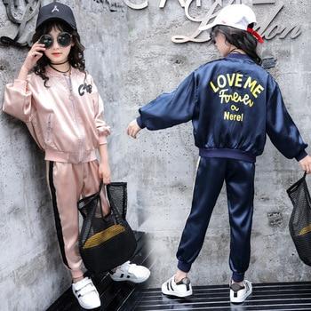 24442b2ff Conjuntos de ropa para niñas sport 2018 marca otoño ropa para niños conjunto  de niñas conjunto de chándal suelto causa 4 6 8 10 12 a 14 años.