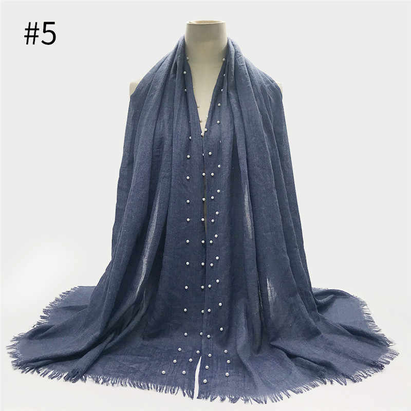 Bufanda de hijab de algodón musulmán 100*180cm bufanda de perlas lisas islámicas foulard femme muulman señoras chales y envolturas árabes bufandas