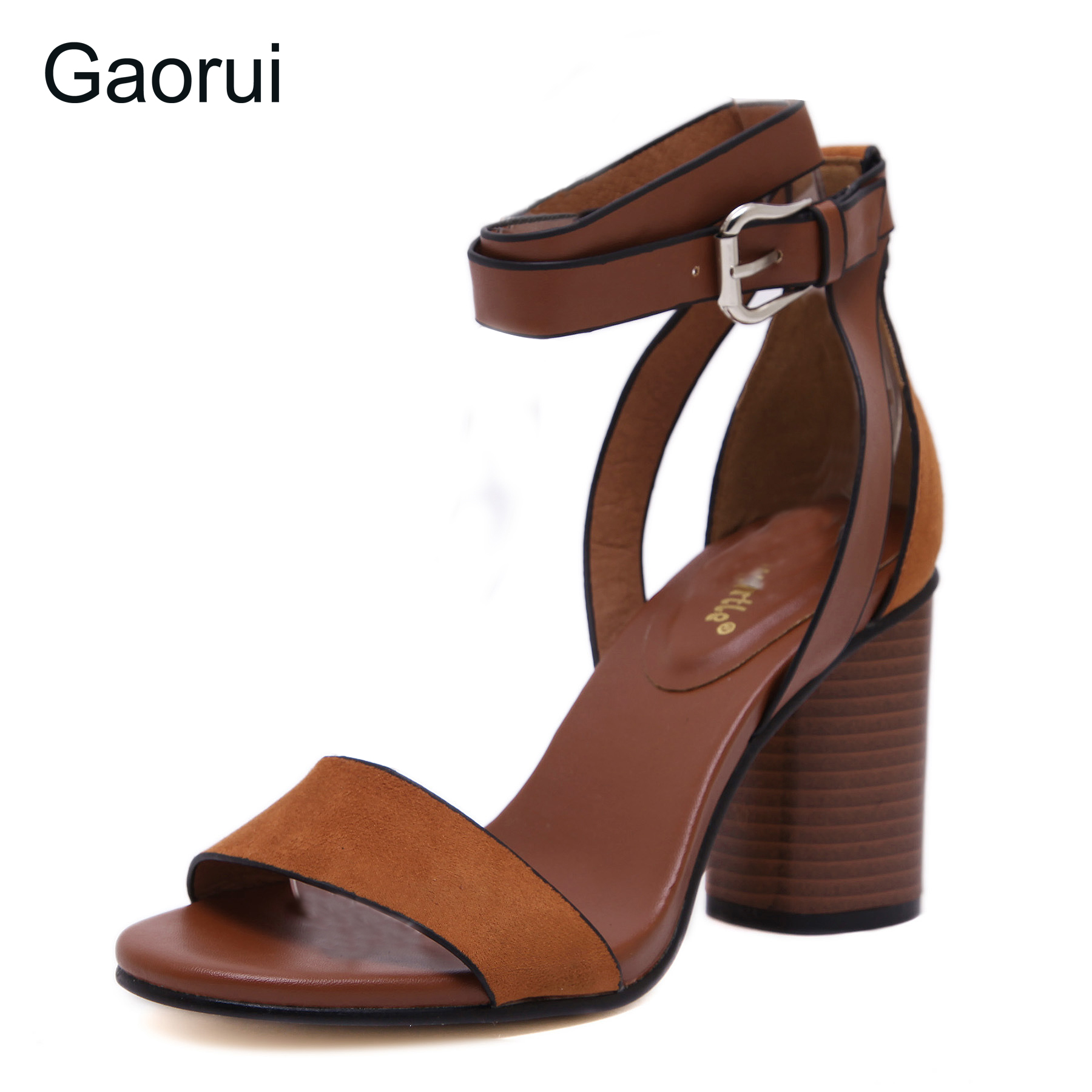 GAORUI 2017 New Retro Women Sandals Flock Square Heels Buckle Strap Leisure Sexy Sandals Shoes Woman Ankle Strap Zapatos Mujer lucyever women vintage square toe flat summer sandals flock buckle casual shoes comfort ankle strap women footwear mujer zapatos