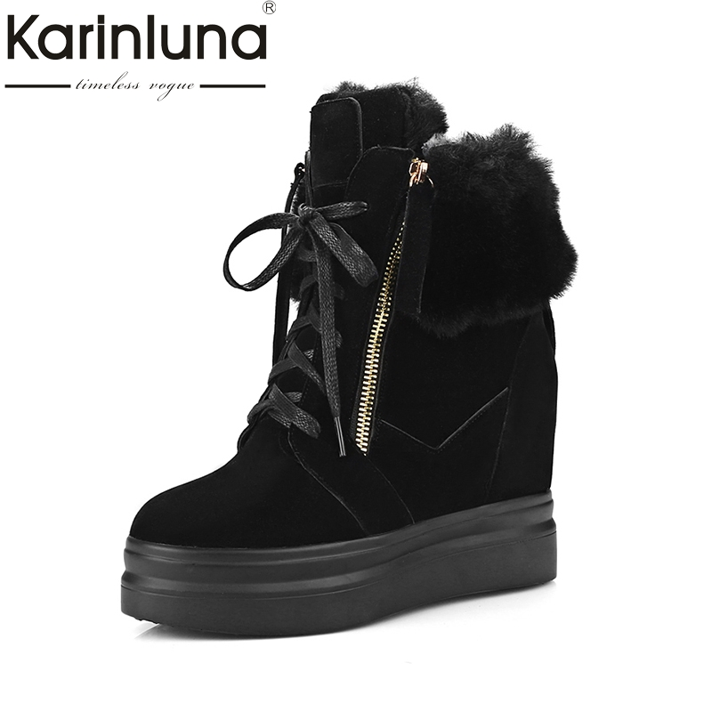 KARINLUNA new plus size 33-42 platform rabbit fur ankle boots women shoes height increasing high heels winter shoes women boots women rabbit fur snow boots platform height increasing wedge lady short boots chunky heels crystal half boots plus size 40 41