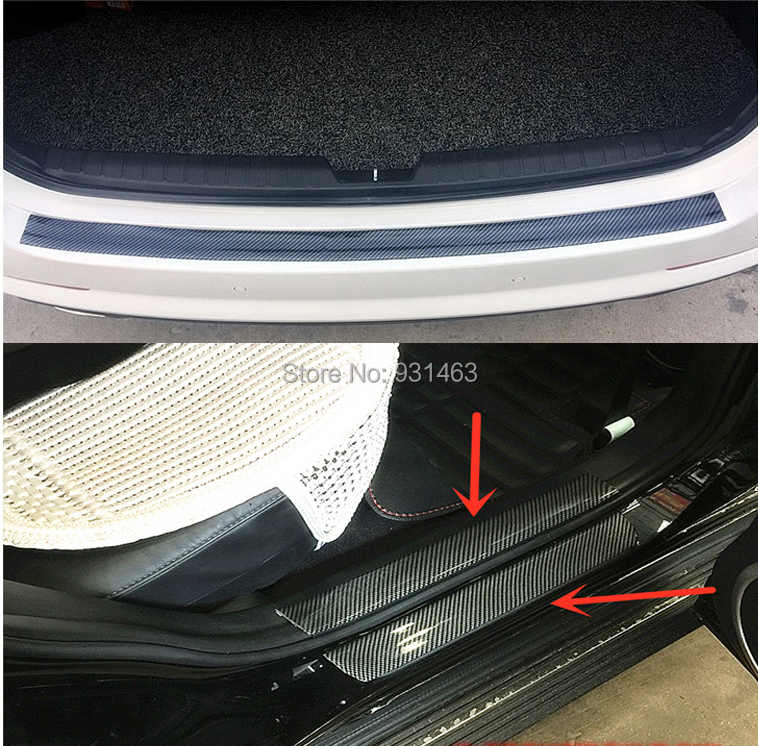 Door Bumper Film Protector Car Stickers 5D Carbon Fiber Vinyl Trim car  Trunk Grill Protector Decal For General-purpose vehicle