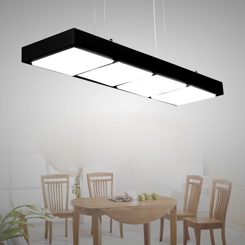 Modern Acryl Office Pendant Lamp Simple Rectangle LED Lighting Fixture for Restaurant Practical Engineering Indoor Lamp