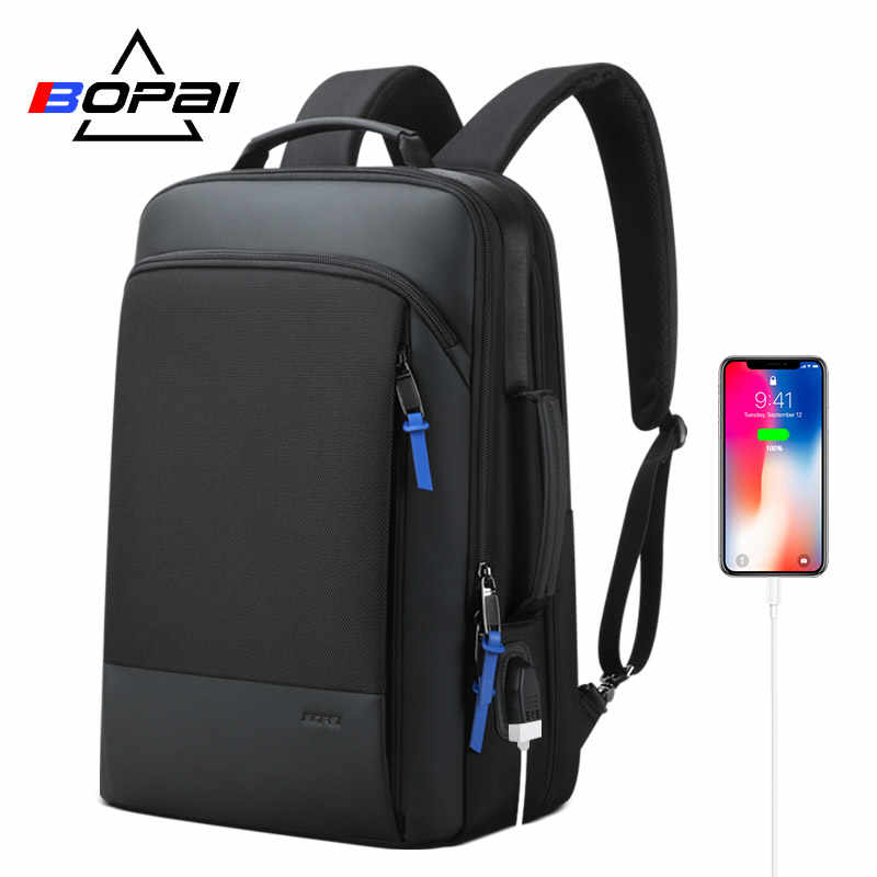 BOPAI 2019 Backpack Men Enlarge Anti theft Business Backpack for 15.6inch Laptop Black Back Pack School Backpack
