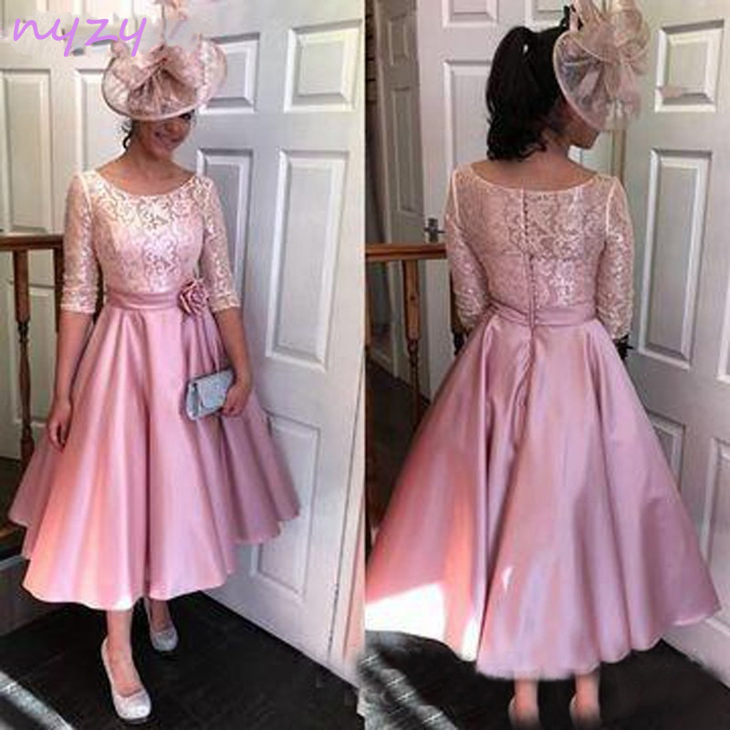 NYZY M17 Elegant 2019 Formal   Dress   Robe de Soiree Courte Pink Satin Tea Length Lace Half Sleeves   Dress     Cocktail   Party