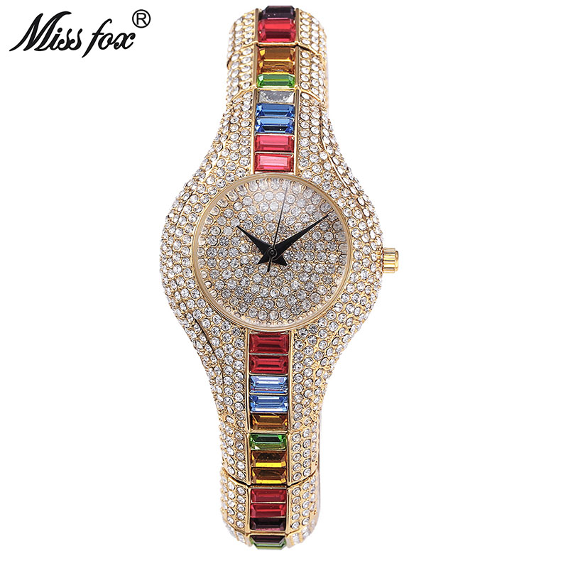 MISSFOX Mix Baguette Diamond Women Watches Luxury Ladies Gold Watch Shockproof Waterproof Small Womens Watch For Female Clock