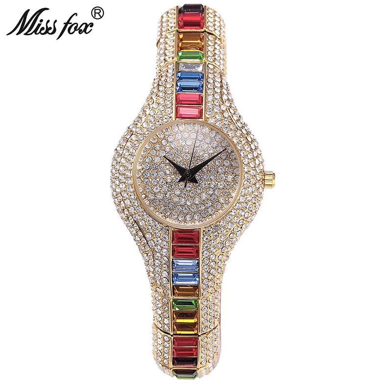 Miss Fox Austria Cristal mujeres Relojes de lujo Ladies Gold Watch 2017 a prueba de golpes a prueba de golpes reloj de las mujeres pequeñas para mujer Reloj