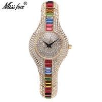 Oferta MISSFOX Mix Baguette diamante mujer relojes lujo señoras oro reloj a prueba de golpes impermeable pequeño reloj para mujer