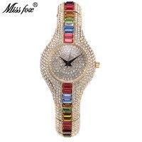 Oferta Miss Fox Austria cristal mujer relojes lujo señoras oro reloj 2017 a prueba de golpes impermeable pequeño reloj para mujer