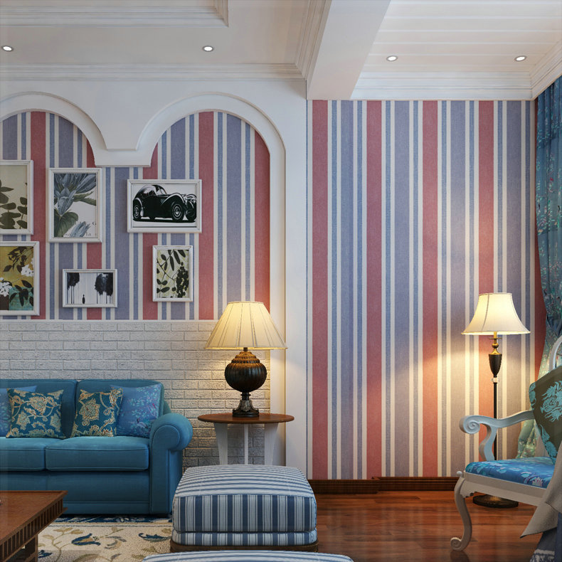 Meters Classic British Style Wallpaper Blue Vertical Stripe Non Woven Wallpaper Living Room