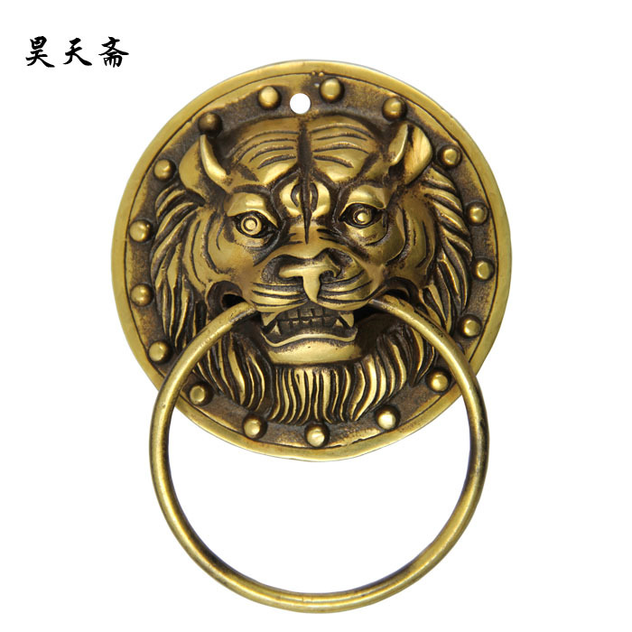 [Haotian vegetarian] new Chinese ancient bronze door knocker door handle copper beast handle HTA-1115 [haotian vegetarian] chinese ancient knocker handle copper ring copper beast lion head door handle king