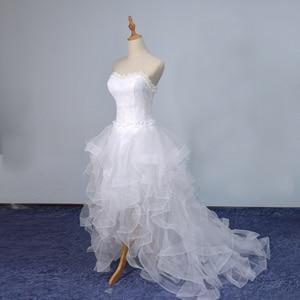 Image 5 - 2019 New Front Short Long Back Strapless Wedding Dress Sweet Bride Dress With Train Customized Wedding Gown Vestido De Noiva L