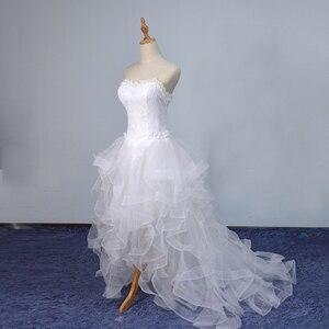 Image 5 - Vestido De novia corto por delante, largo, sin tirantes, con tren, Vestido De novia personalizado, novedad De 2019