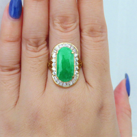 14K Solid Yellow Gold Natural Apple Green Jade & White Moissanite Engagement Ring For Women