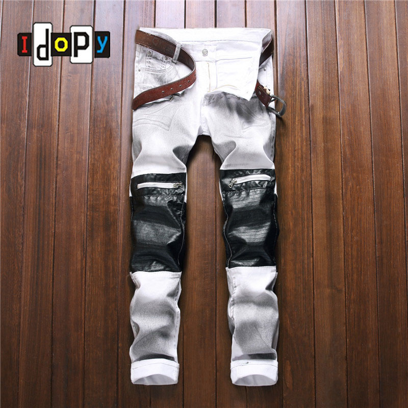 ФОТО Fashion Men PU Patchwork Denim Jeans White Brand Designer Slim Fit Denim Jeans Pants With Knee Zippers For Men