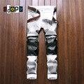 Los Hombres de moda de LA PU Patchwork Denim Jeans Blanco Diseñador de la Marca Slim Fit Denim Jeans Pantalones Con Cremalleras de La Rodilla Para Los Hombres