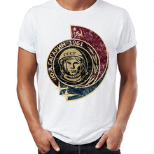 Men's T Shirt Featuring Yuri Gagarin First Human into Space Soviet Union Astrona