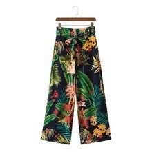 Women Floral   Leaf Print Green Trousers High Waist Sashes Zippers Fashion  Female Summer Wide Leg Pants 2018 Fashion Pants e563c3999824
