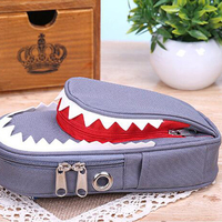 Student pencil bag personality stationery creative large capacity shark stationery bag canvas pencil case
