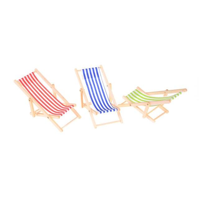 Folding Stripe Deck Chair Mini Beach Lounge Dollhouse Miniature Chairs Garden Decoration Furniture Home Decor Pretend Play