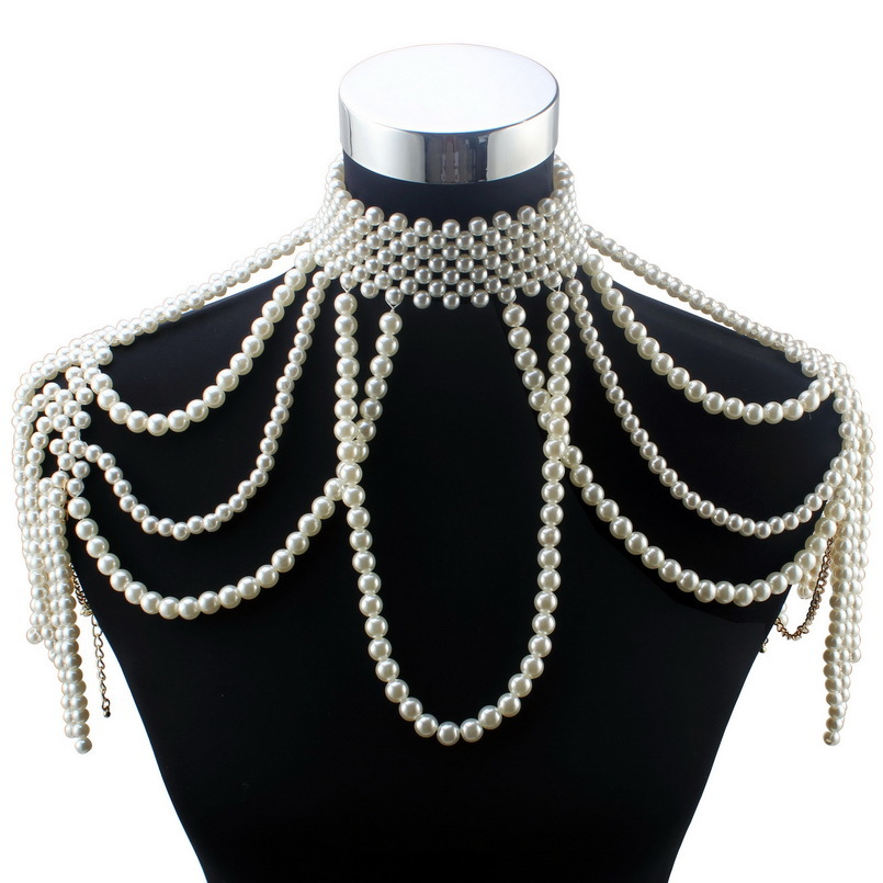Florosy Long Bead Chain Chunky Simulated Pearl Necklace Body Jewelry for Women Costume Choker Pendant Statement Necklace New