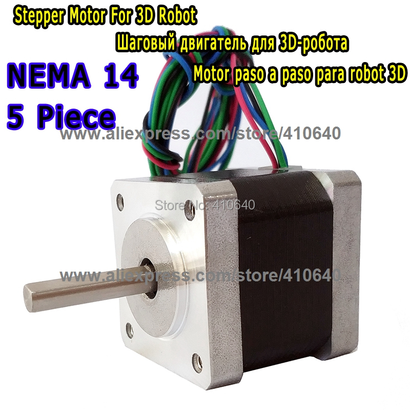 5 peices 3D Printer Stepper Motor 14HS13-0804S L34mm Nema 14 with 1.8 deg 0.8A 18 N.cm equal to 14HY3402 and 35HS3408