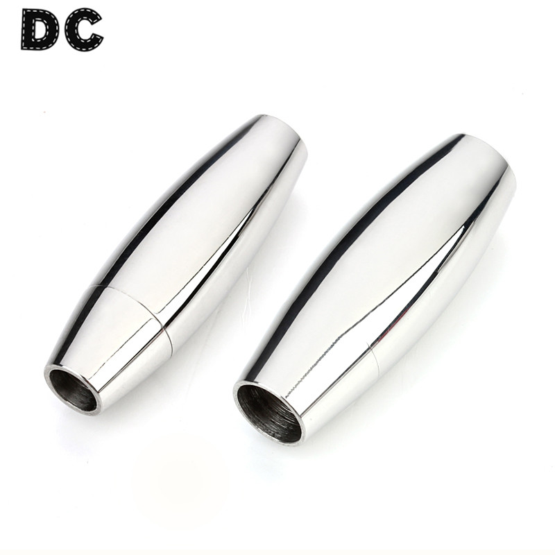 DC 2pcs Smooth Oval Stainless Steel Magnetic Clasps Jewelry Connector Fit Round 3/4/6/7mm Leather Cord Bracelet Findings F5053