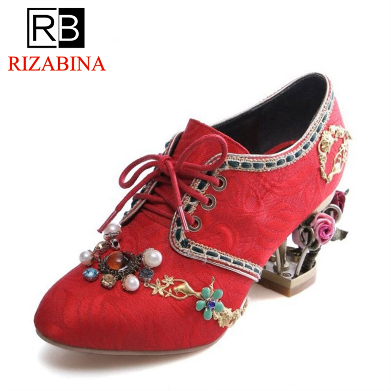RizaBina Size 34-43 Vintage Women Real Leahter High Heel Shoes Women Beading Lace Up Thick Heel Pumps Party Shoes Women Footwear