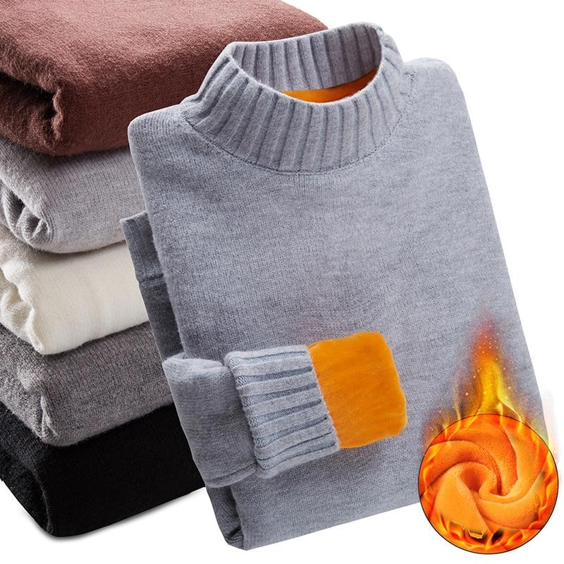 2019 Winter Plus Velvet Thick Warm Sweater Men Turtleneck Men Sweaters Slim Fit Pullover Men Knitwear