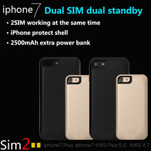 For iPhone 7/7plus/6 Dual SIM Dual Standby Adapter GoodTalk Metal Frame Phone Shell Ultra-thin Back Clip Battery Power Supply