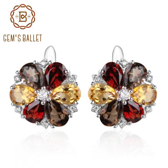 Gem's Ballet 7.72ct Citrine Garnet Smoky Quartz Stone Real 925 Sterling Silver Classic Trendy Flower Shape Women Fine Jewelry