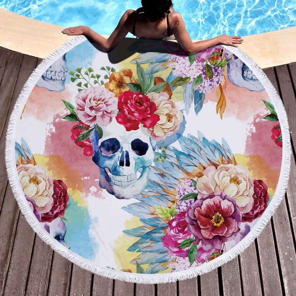 150CM Colorful Flower Skull Printing Large Tassel Bath