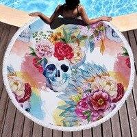 150CM Colorful Flower Skull Printing Large Tassel Bath Beach Towel Throw Microfiber Adults Sport Towels Round Sunbath Yoga Mat