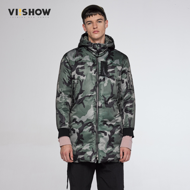 VIISHOW 2017 New Military Tactical Style Long Parka Jacket Men Windproof Warm Coat Camouflage Hooded Camo Army Clothing  MC30164 new men s military style casual fashion canvas outdoor camping travel hooded trench coat outerwear mens army parka long jackets