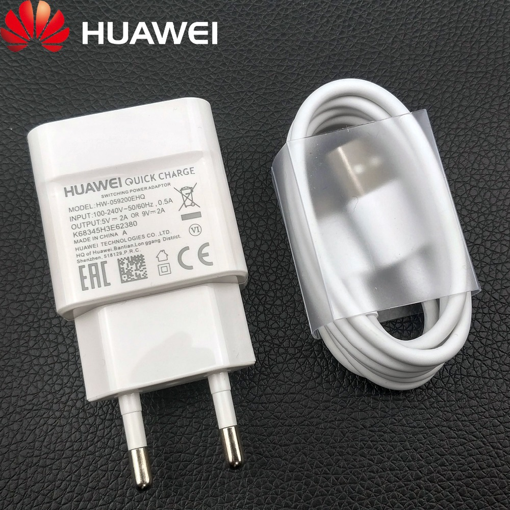 Genuine Huawei QC2.0 Fast Charger 9V 2A EU plug Usb 3.1 Type-C cable quick charge adapter for P20 lite P9 P10 Nova 3 smartphone