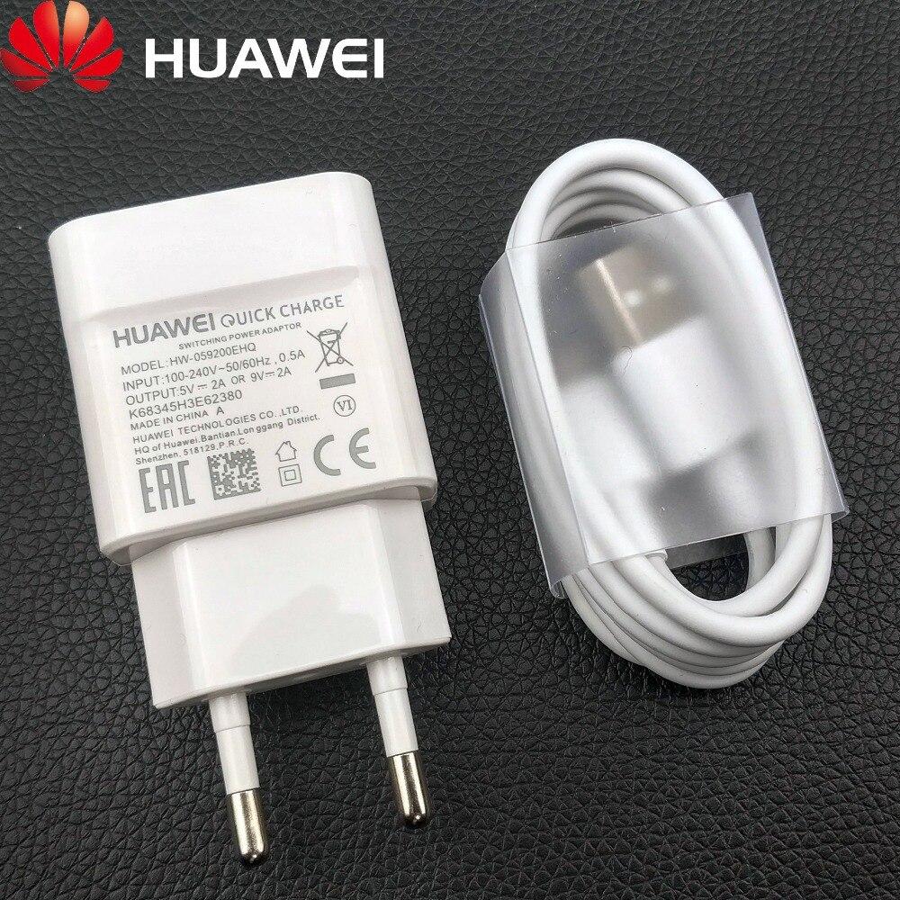 Véritable Huawei QC2.0 chargeur rapide 9V 2A EU prise Usb 3.1 type-c câble adaptateur de charge rapide pour P20 lite P9 P10 Nova 3 smartphone