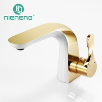 Nieneng Modern Luxury Washbasin Decoration Bathroom Faucet Mixer White Golden Taps Basin Bathroom Tools Accessories ICD60340