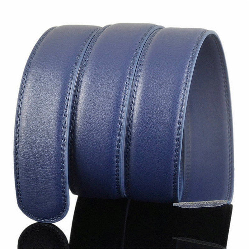 LannyQveen   belt   strap blue color 3.5cm men's automatic   belts   without buckle leather   belt   wholesale free shipping