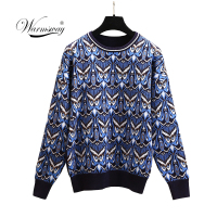 Winter Fashion Women Sweaters Owl Pattern Autumn Loose O Neck Long Sleeve Knitted Pullovers Clothing Drop Ship C 450