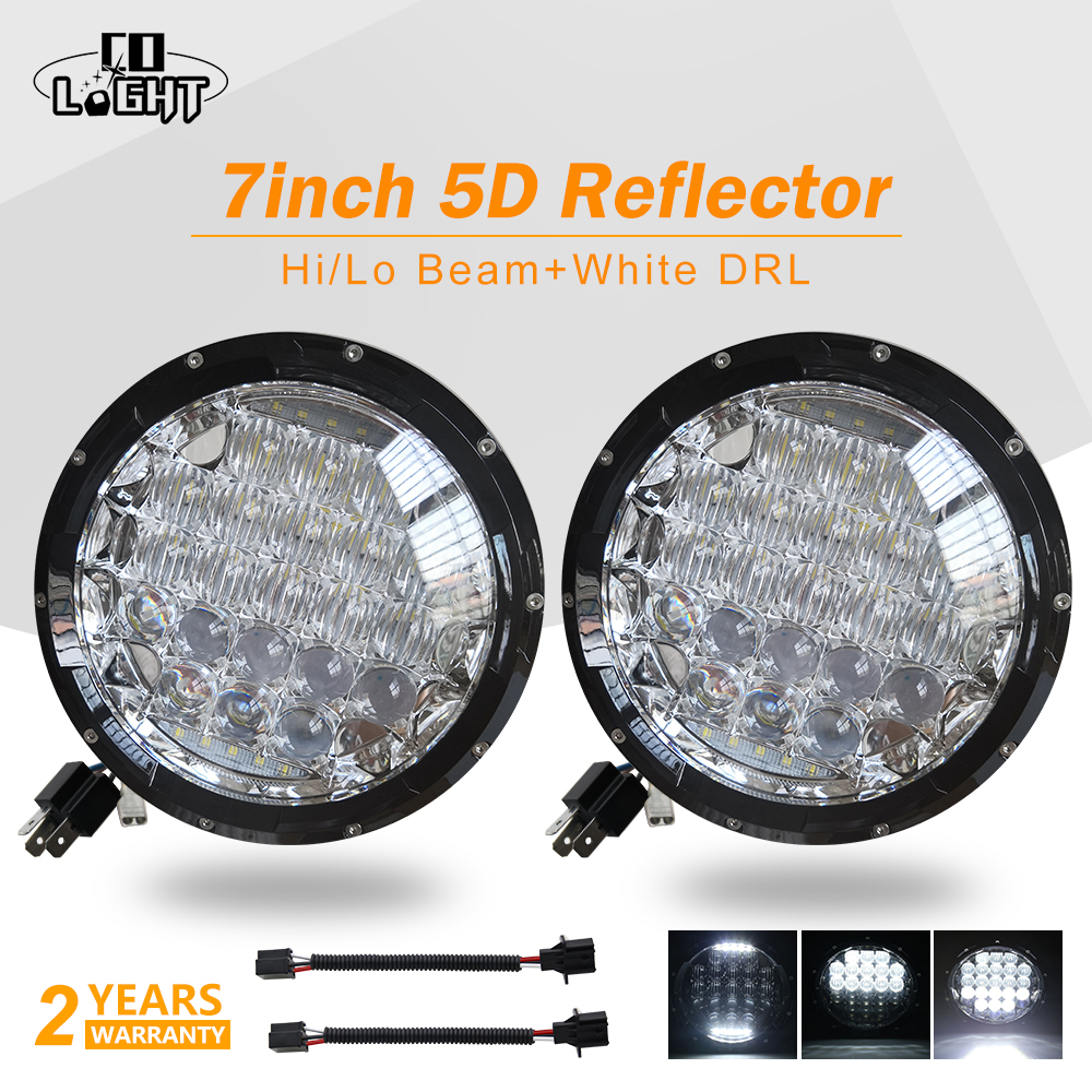CO свет автомобили ходовые огни 70 Вт 5D 7 дюймов светодио дный фар Ангельские глазки H4 светодио дный 35 Вт для Нива 4X4 УАЗ Лада Jeep автомобильные а...