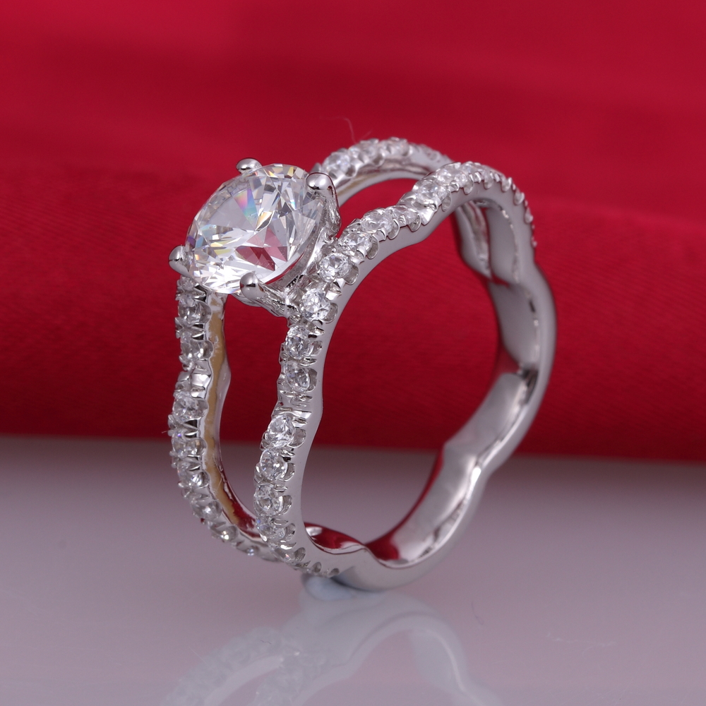 1 carat SONA synthetic diamond ring 925 sterling silver wedding cocktail ring US size from 4 to 10.5 (DFE) все цены