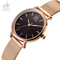 Shengke Brand Luxury Women Watches High Quality Gold Mesh Belt Dress Women Watch Wristwatch Female Clocks
