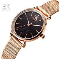 Shengke Brand Luxury Women Watches High Quality Gold Mesh Belt Dress Women Watch Wristwatch Female Clocks