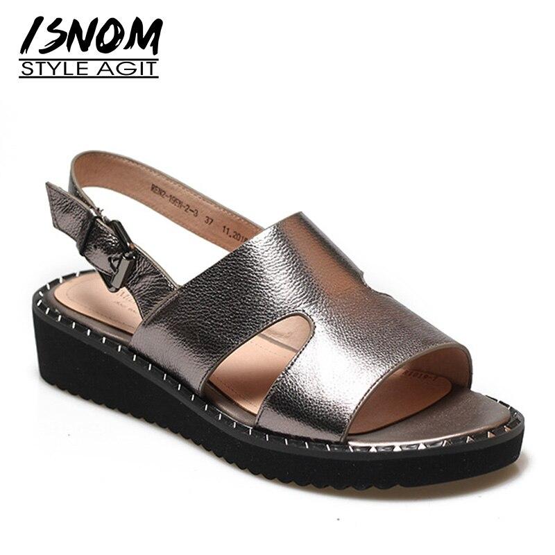 bc8a7a36693371 Compensées Isnom Mode Semelles Gris Véritable 2019 Chaussures Sandales À Femme  D'été Boucles En Ouvert ...