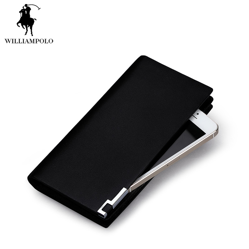 ФОТО Luxury Brand WilliamPOLO 2017 England Business Style Men Wallet Genuine Leather Purses Clutch Wallet Purse Long POLO111 Black