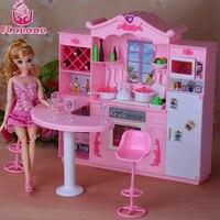 UCanaan Glowing Kitchen Cupboard Restaurant Set Furniture Doll Accessories Suitable For 1 3 Dolls Safe Plastic