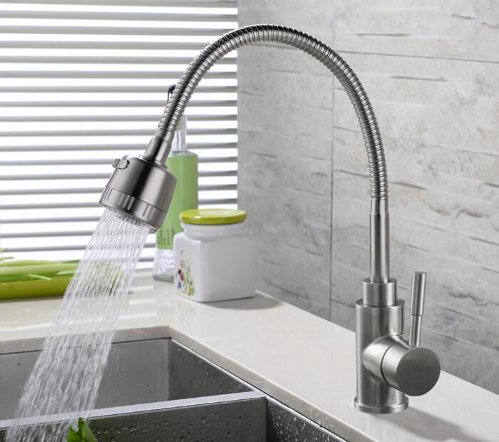 Free shipping 304 Stainless Steel Rotary Kitchen Faucet Hot And Cold Lead Free Drawing Wash Basin